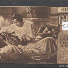 Cine: LA REINA CRISTINA DE SUECIA - GRETA GARBO - TARJETA CARTON - CINE NOU - VER REVERSO _ (C-2413). Lote 55240031