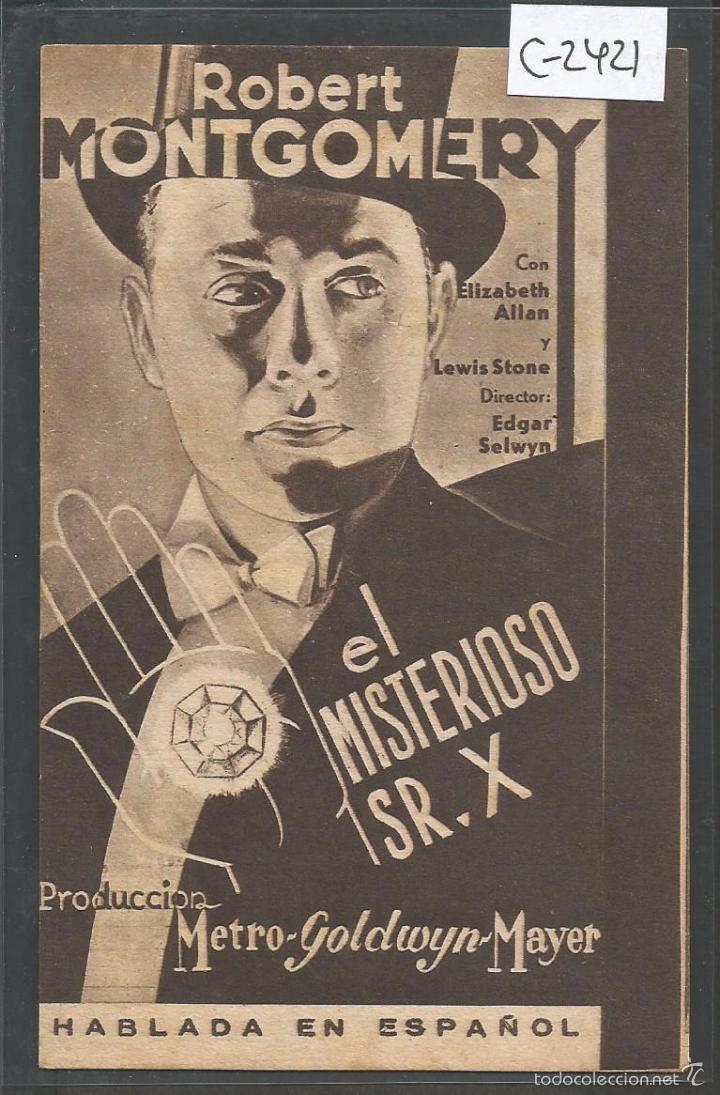 EL MISTERIOSO SR. X - ROBERT MONTGOMERY - TARJETA CARTON - VER REVERSO -(C-2421) (Cine - Folletos de Mano - Terror)