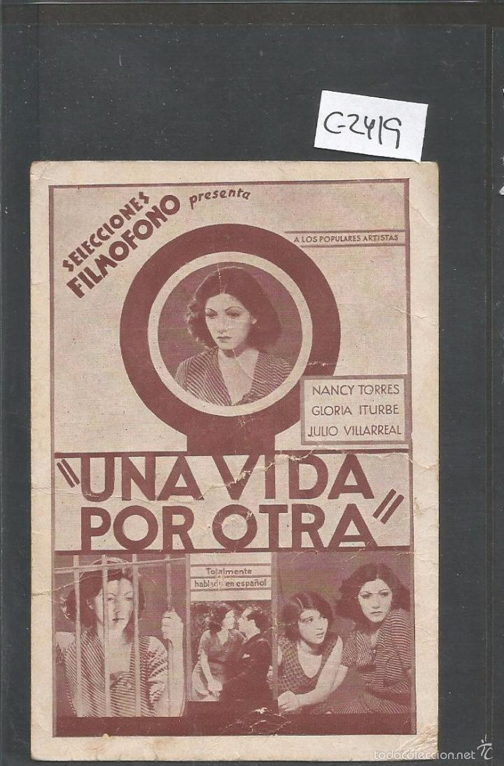 UNA VIDA POR OTRA - CINEMA ZORRILLA - TARJETA - VER REVERSO -(C-2419) (Cine - Folletos de Mano - Terror)