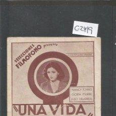 Cine: UNA VIDA POR OTRA - CINEMA ZORRILLA - TARJETA - VER REVERSO -(C-2419). Lote 55240657