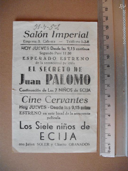 Cine: EL SECRETO DE JUAN PALOMO - 1952 - Foto 2 - 55342202