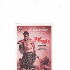 Cine: FOLLETO CINE PROGRAMA DE MANO PROSPECTO ANTIGUO PELÍCULA PICNIC PIC NIC WILLIAM HOLDEN KIM NOVAK. Lote 55399271