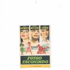 Cine: FOLLETO CINE PROGRAMA DE MANO PELÍCULA FUEGO ESCONDIDO RITA HAYWORTH ROBERT MITCHUM JACK LEMMON. Lote 55399519