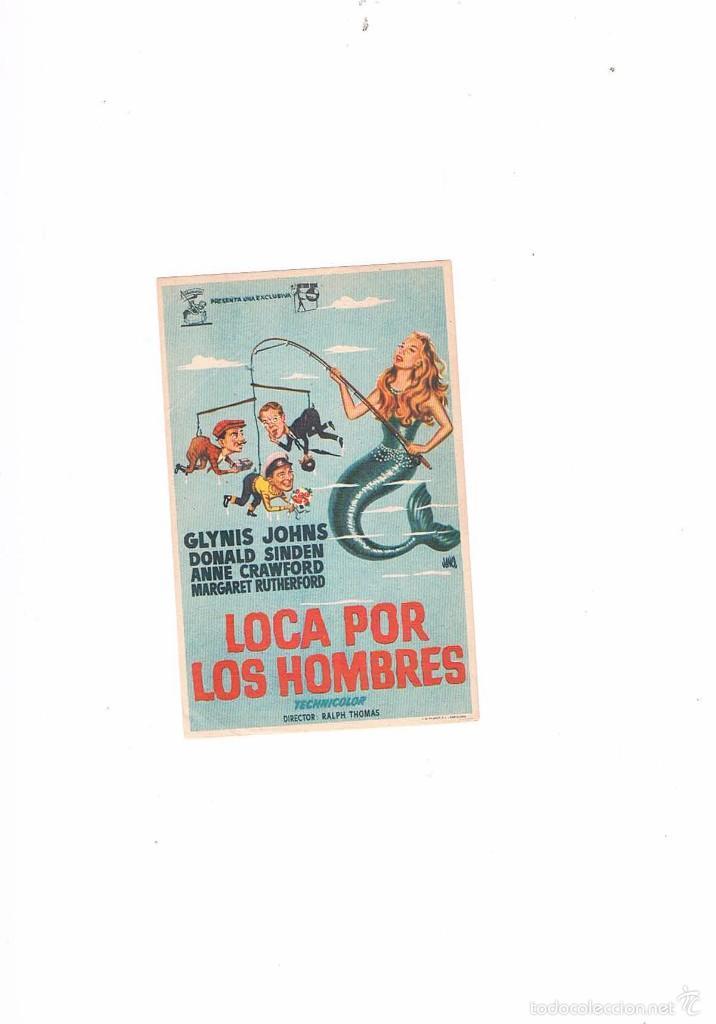 FOLLETO CINE PROGRAMA DE MANO ANTIGUO LOCA POR LOS HOMBRES (Cine - Folletos de Mano - Comedia)