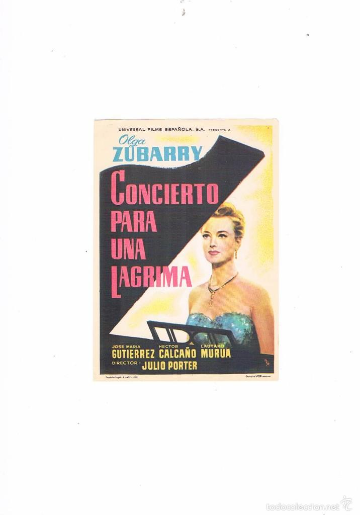 FOLLETO CINE PROGRAMA DE MANO ANTIGUO CONCIERTO PARA UNA LÁGRIMA (Cine - Folletos de Mano - Musicales)