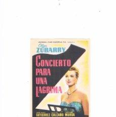 Cine: FOLLETO CINE PROGRAMA DE MANO ANTIGUO CONCIERTO PARA UNA LÁGRIMA. Lote 55401241