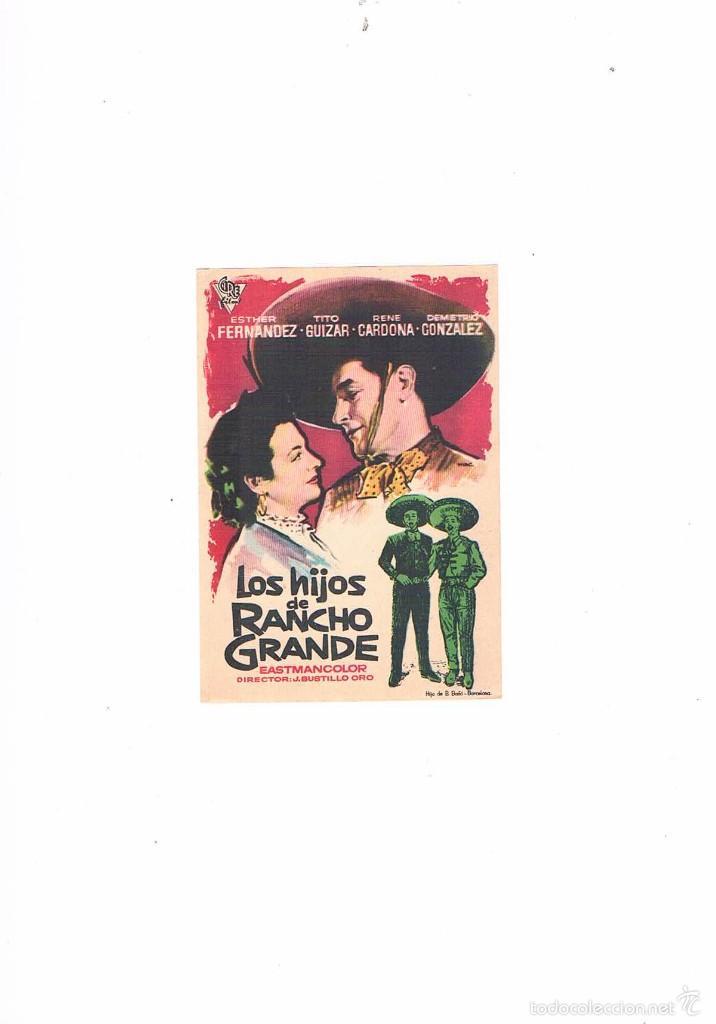 FOLLETO CINE PROGRAMA DE MANO ANTIGUO LOS HIJOS DE RANCHO GRANDE (Cine - Folletos de Mano - Musicales)