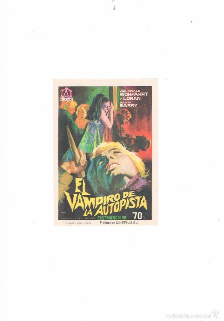 FOLLETO CINE PROGRAMA DE MANO ANTIGUO EL VAMPIRO DE LA AUTOPISTA (Cine - Folletos de Mano - Terror)
