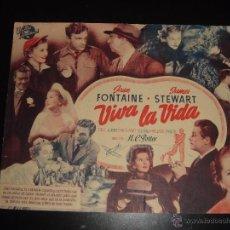 Cine: VIVA LA VIDA. JAMES STEWART, JOAN FONTAINE. H.C. POTTER.CINE ARAMO,OVIEDO.1950. Lote 55527049