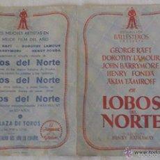 Cine: FOLLETO MANO CINE DOBLE LOBOS DEL NORTE. Lote 55664451
