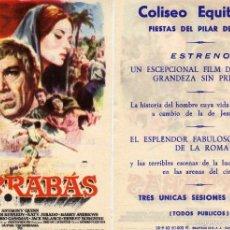 Cine: FOLLETO DE MANO BARRABAS CON A. QUINN. COLISEO EQUITATIVA ZARAGOZA ESTRENO FIESTAS DEL PILAR 1962. Lote 246174335