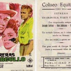Cine: FOLLETO DE MANO BARRERAS DE ORGULLO. COLISEO EQUITATIVA ZARAGOZA. Lote 55771544