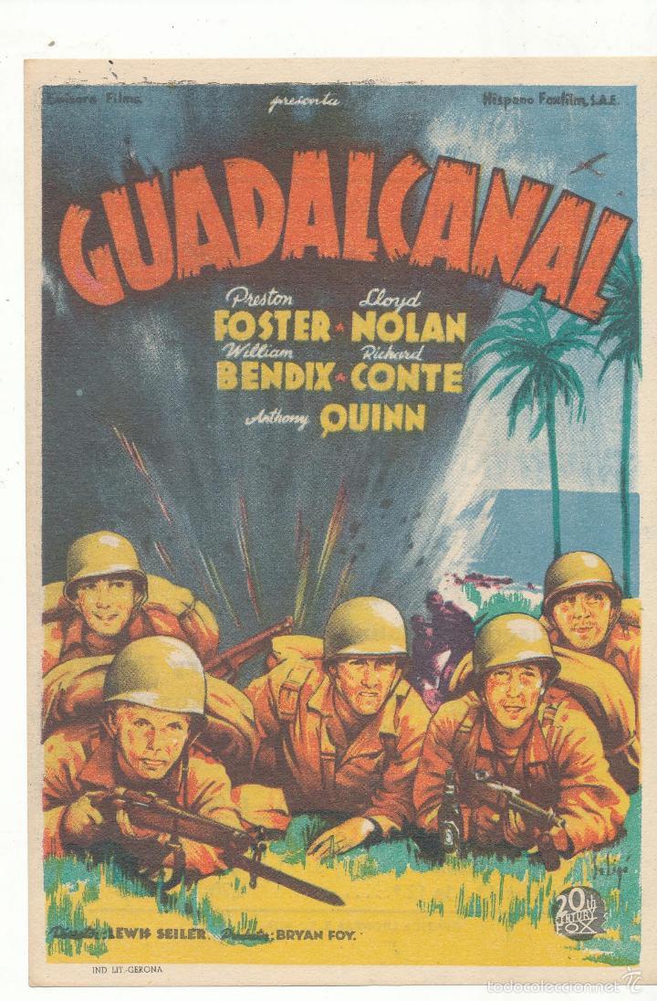 GUADALCANAL. SOLIGÓ. SENCILLO DE 20TH CENTURY. CINE MARI - LEÓN 1945. ¡IMPECABLE! (Cine - Folletos de Mano - Bélicas)