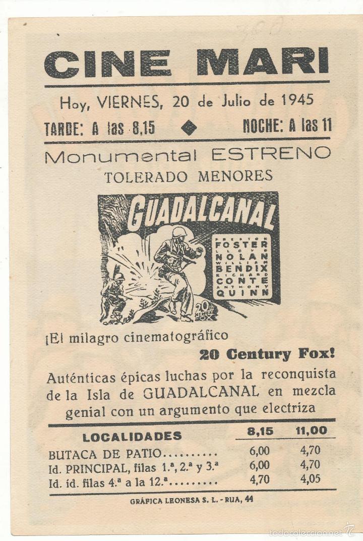 Cine: Guadalcanal. Soligó. Sencillo de 20Th Century. Cine Mari - León 1945. ¡IMPECABLE! - Foto 2 - 55811242