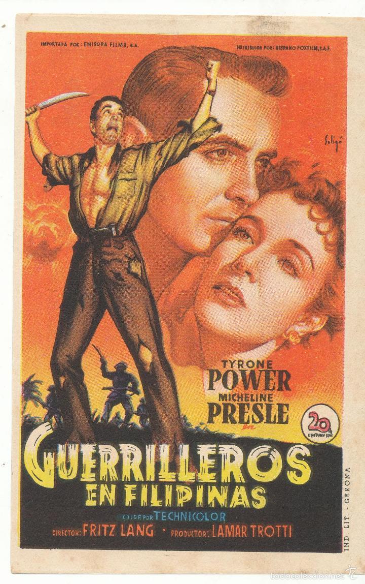 GUERRILLEROS EN FILIPINAS. SOLIGÓ. SENCILLO DE 20TH CENTURY. CINE CAPITOL - SANTIAGO. (Cine - Folletos de Mano - Bélicas)