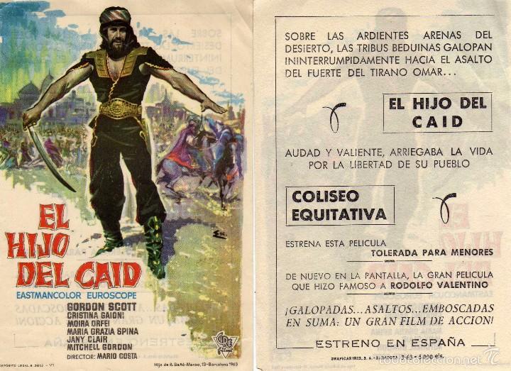 FOLLETO DE MANO EL HIJO DEL CAID . COLISEO EQUITATIVA ZARAGOZA (Cine - Folletos de Mano - Aventura)