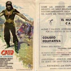 Cine: FOLLETO DE MANO EL HIJO DEL CAID . COLISEO EQUITATIVA ZARAGOZA. Lote 55820042