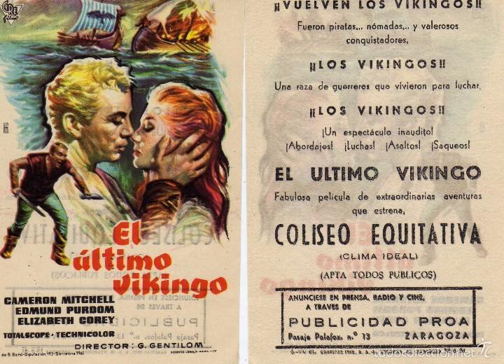 FOLLETO DE MANO EL ÚLTIMO VIKINGO. COLISEO EQUITATIVA ZARAGOZA (Cine - Folletos de Mano - Aventura)