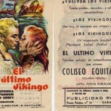 Cine: FOLLETO DE MANO EL ÚLTIMO VIKINGO. COLISEO EQUITATIVA ZARAGOZA. Lote 56702636