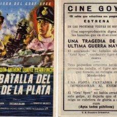 Cine: FOLLETO DE MANO LA BATALLA DEL RÍO DE LA PLATA. CINE GOYA ZARAGOZA. Lote 57564177