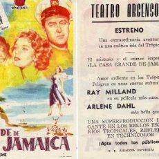 Cine: FOLLETO DE MANO LA CASA GRANDE DE JAMAICA. TEATRO ARGENSOLA ZARAGOZA. Lote 55824390