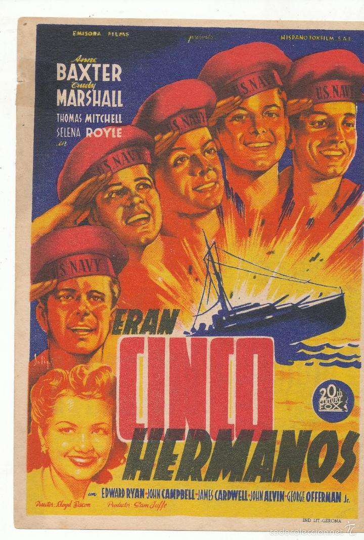 ERAN CINCO HERMANOS. SOLIGÓ. SENCILLO DE 20TH CENTURY. CINE ESPAÑOL. (Cine - Folletos de Mano - Bélicas)