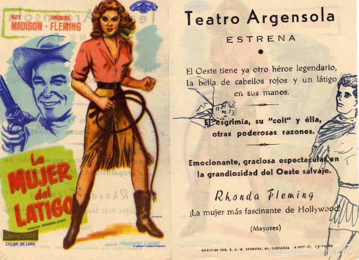 FOLLETO DE MANO LA MUJER DEL LATIGO. TEATRO ARGENSOLA ZARAGOZA VER ESTADO (Cine - Folletos de Mano - Westerns)