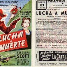 Cine: FOLLETO DE MANO LUCHA A MUERTE. TEATRO IRIS ZARAGOZA. Lote 297118368