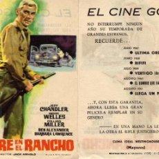 Cine: FOLLETO DE MANO SANGRE EN EL RANCHO. CINE GOYA ZARAGOZA. Lote 116448114