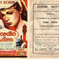 Cine: FOLLETO DE MANO SUCEDIO EN ADEN. CINE GOYA ZARAGOZA. Lote 199329492