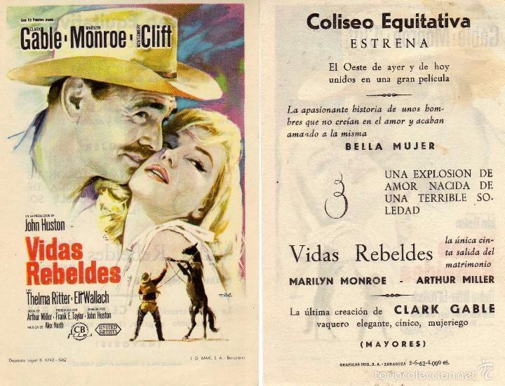 FOLLETO DE MANO VIDAS REBELDES CON MARILIN MONROE Y CLARK GABLE. COLISEO EQUITATIVA ZARAGOZA (Cine - Folletos de Mano - Drama)