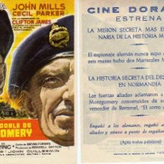 Cine: FOLLETO DE MANO YO FUI EL DOBLE DE MONTGOMERY. CINE DORADO ZARAGOZA. Lote 55877835