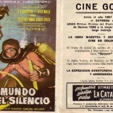 Flyers Publicitaires de films Anciens: FOLLETO DE MANO EL MUNDO DEL SILENCIO. CINE GOYA ZARAGOZA. Lote 76012409