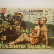 Cine: PROGRAMA DE CINE HORIZONTES SALVAJES CON DOROTHY LAMOUR. CINE TERRAZA NAVARRO.. Lote 56000830