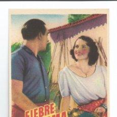 Cine: FIEBRE EN EL ALMA - REVERSO EN BLANCO. Lote 56046304