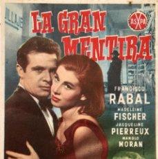 Cine: LA GRAN MENTIRA- FRANCISCO RABAL-MADELEINE FISCHER-JACQUELINE PIERREUX-RAFAEL GIL- CINEMA MARTINENSE. Lote 116079778