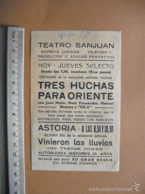 Cine: TRES HUCHAS PARA ORIENTE- 1955 - EXCELENTE - Foto 2 - 56153443