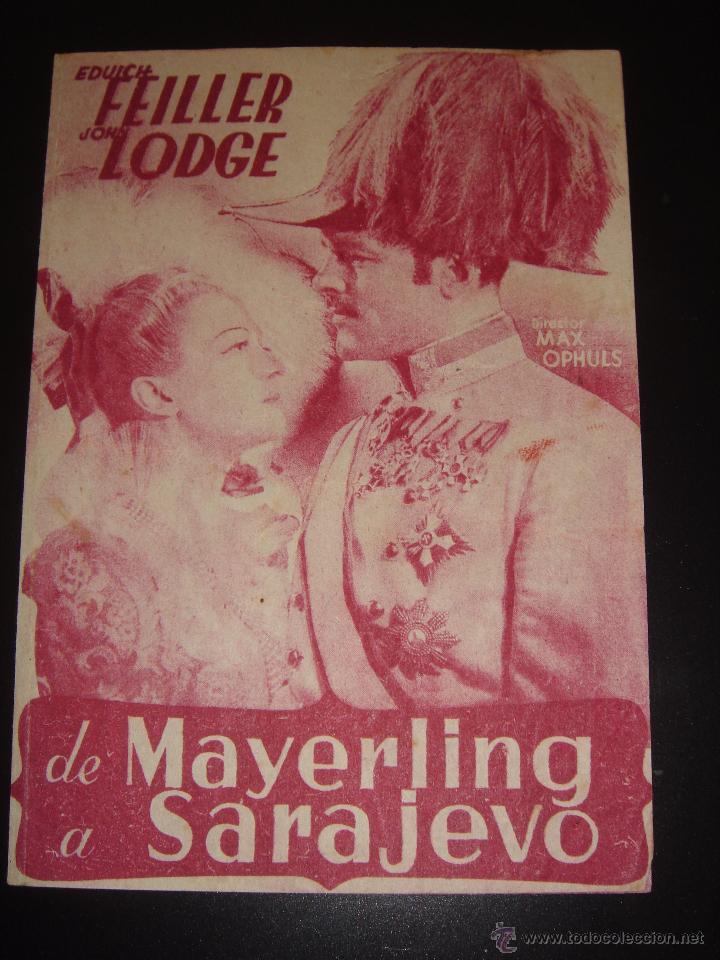 DE MAYERLING A SARAJEVO. MAX OPHULS.CINE CASINO CALDENSE (Cine - Folletos de Mano - Drama)