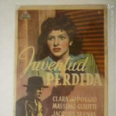 Cinema - PROGRAMA DE CINE JUVENTUD PERDIDA. PUBLICIDAD CINEMA PROYECCIONES. - 56307418