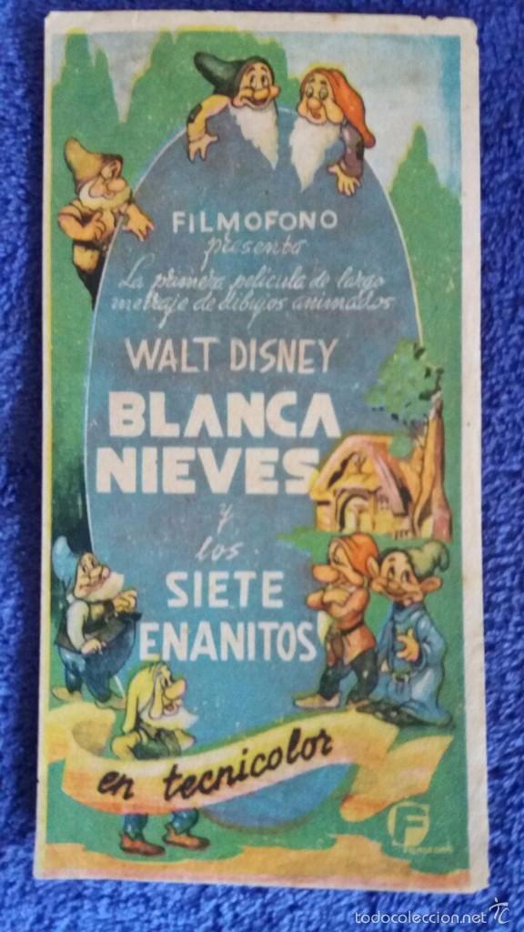 BLANCANIEVES Y LOS SIETE ENANITOS / FILMOFONO (Cine - Folletos de Mano - Infantil)