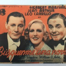 Cine: BUSQUEME UNA NOVIA, CINE MUNICIPAL CADIZ 1940. Lote 56381675