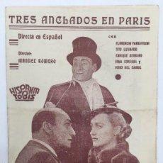 Cine: TRES ANCLADOS EN PARIS, CINE MUNICIPAL 1940. Lote 56392939