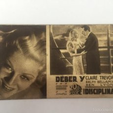 Cine: DEBER Y DISCIPLINA, CINE GADES 1940. Lote 56394732