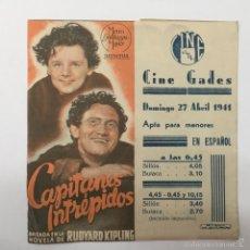 Cine: CAPITANES INTREPIDOS, CINE GADES 1941. Lote 56396278