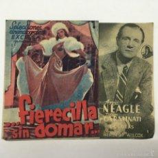 Cine: FIERECILLA SIN DOMAR, PROGRAMA DOBLE CINE MUNICIPAL CADIZ 1942. Lote 56403509