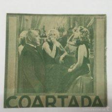 Cine: COARTADA PROGRAMA DOBLE CINE MUNICIPAL CADIZ 1942. Lote 56403611