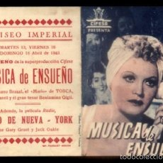 Folhetos de mão de filmes antigos de cinema: PROGRAMA DOBLE DE CINE: MUSICA DE ENSUEÑO. PC-4230. Lote 56466756