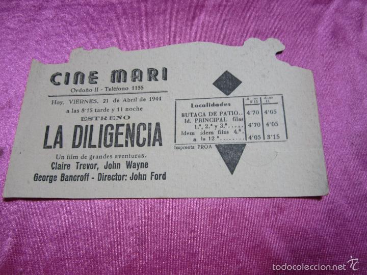 Cine: LA DILIGENCIA PROGRAMA DE CINE TROQUELADO EXCELENTE ESTADO C2 - Foto 2 - 56595703