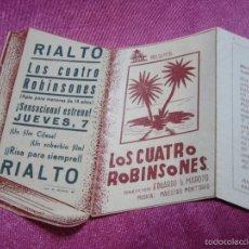 Cine: LOS CUATRO ROBINSONES PROGRAMA DE CINE TROQUELADO C2. Lote 56596112