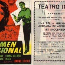 Cine: FOLLETO DE MANO CRIMEN PASIONAL . TEATRO IRIS ZARAGOZA. Lote 79791935